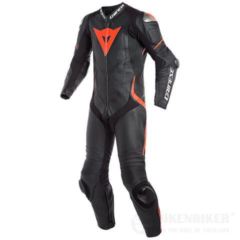 Laguna Seca 4 1Pc Perf. Leather Suit Black/Black/Fluo-Red- Dainese