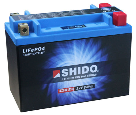 Shido Lithium Motorcycle Battery - LTX20L-BS Q LI-ON