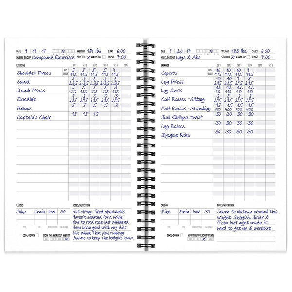 Workout Log Book And Fitness Journal 2 Pack 5 5 X 8 5 Newmefitness