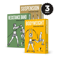 "3-Pack Exercises Cards Bodyweight, Suspension, Resistance Band Plastic - 3.5""x 5.5"""