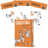 "3-Pack Exercises Cards Stability Ball, Medicine Ball, Half Balance Ball Plastic - 3.5""x 5.5"""