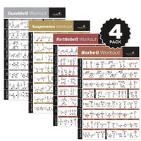 "4-PACK Posters DUMBBELL, SUSPENSION, KETTLEBELL, BARBELL 20""x 30"""