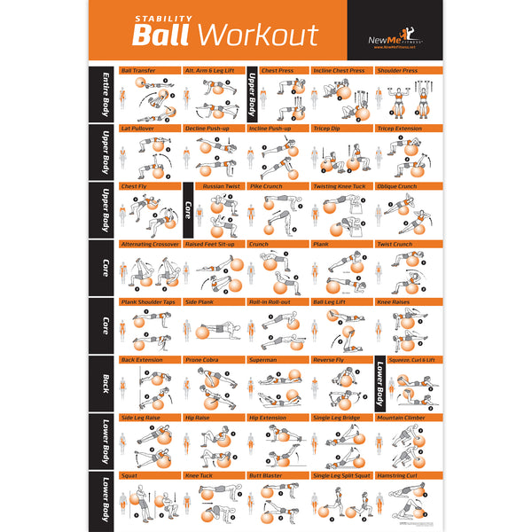 "Stability Ball Exercise Poster - Laminated - 20""x30"""