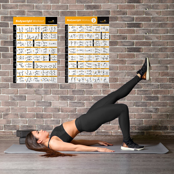 "VOL 1+2 Bodyweight Exercise Poster 2-Pack - Laminated - 20""x30"""