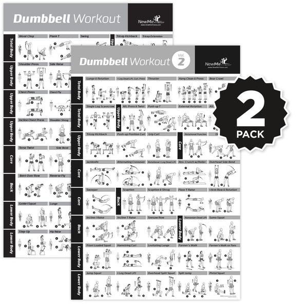 "Dumbbell Exercise Poster Vol. 1+2 2-PACK - Laminated - 20""x30"""