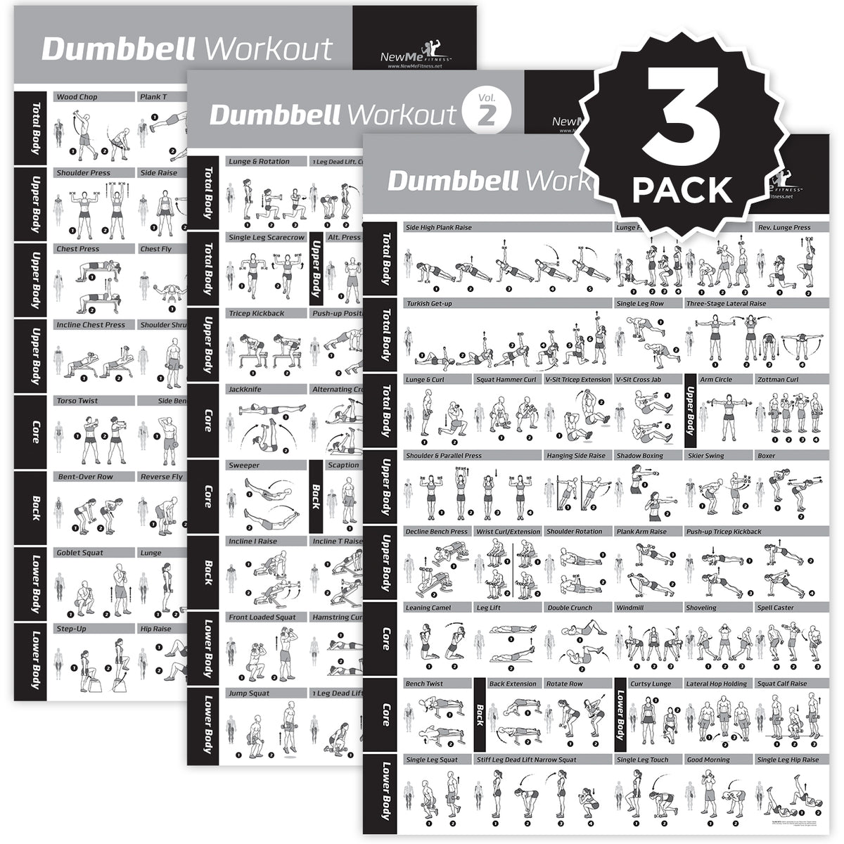 Dumbbell Exercise Poster Vol 1 2 3 3 Pack Laminated 20