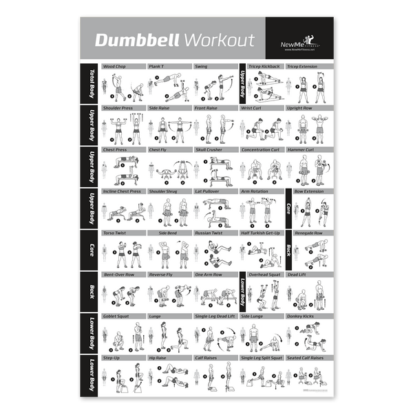 Laminated Fitness Dumbbell Workout Exercise Poster
