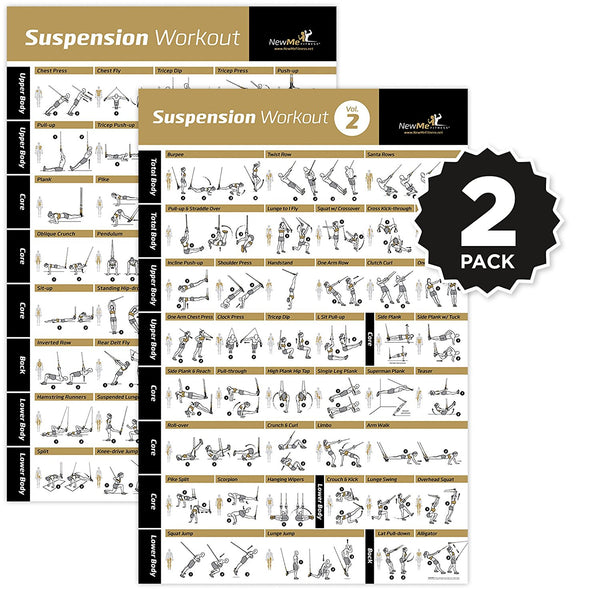 "TRX Suspension Exercise Poster Vol. 1+2 2-Pack - Laminated - 20""x 30"""