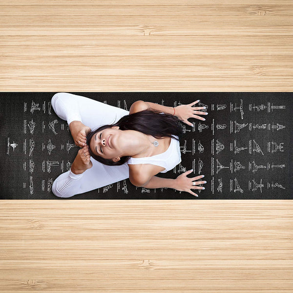 """NewMe Fitness Instructional Yoga Mat Printed w// 70 Illustrated Poses 24/"""" Wide x 68/"""" Long"""