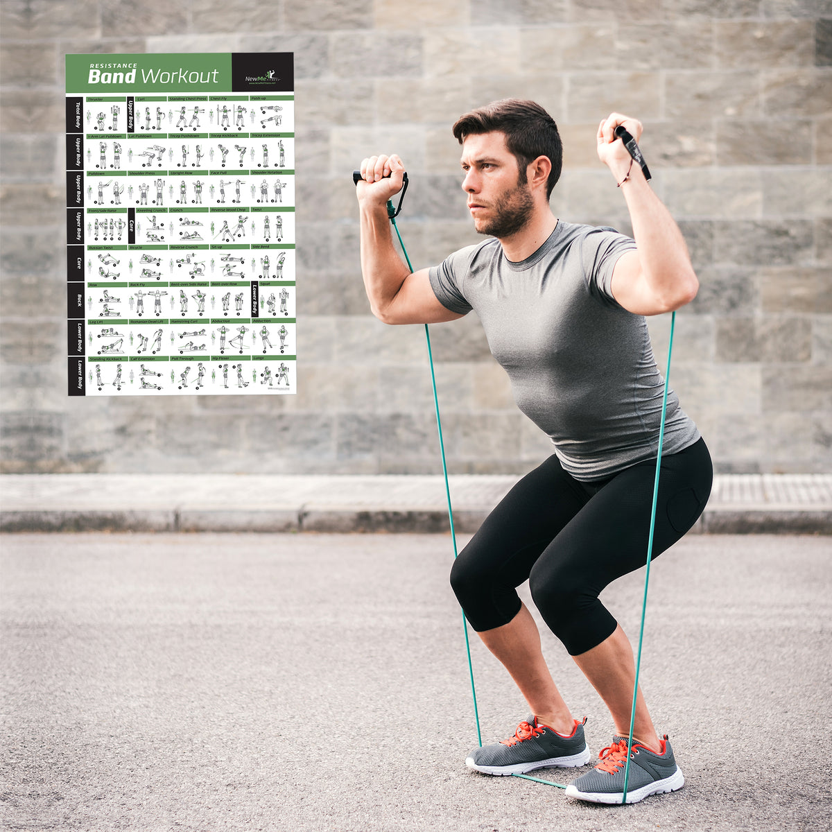 Male Static Stretching Chart: Resistance Band Exercise Poster
