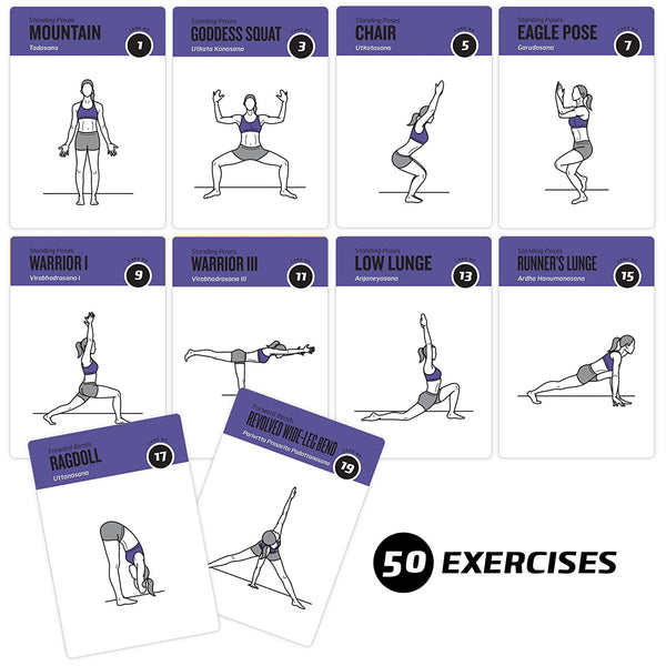 "Yoga Exercise Cards - Plastic - 3.5""x5.5"""