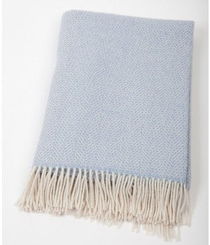 John Hanly Merino and Cashmere Blanket Throw - Pale Blue 136cm x 180cm - Stuff & All Ltd