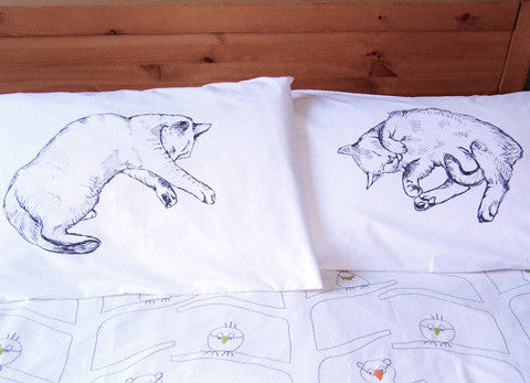 Cat Napper Cotton Eco Friendly Pillowcases - Stuff & All Ltd