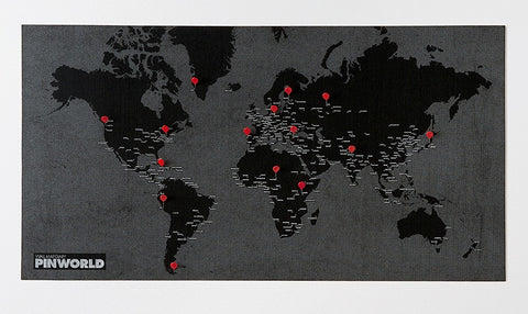 Pin Wall World Map Black - Stuff & All Ltd
