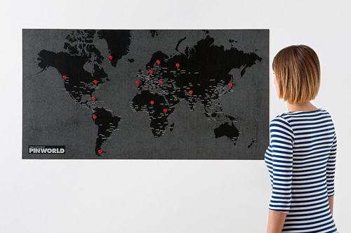 Mini Pin Wall World Map Black - Stuff & All Ltd
