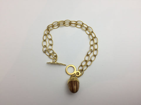 Phoebe Gold 18 Carat Double Chain Acorn Bracelet - Stuff & All Ltd