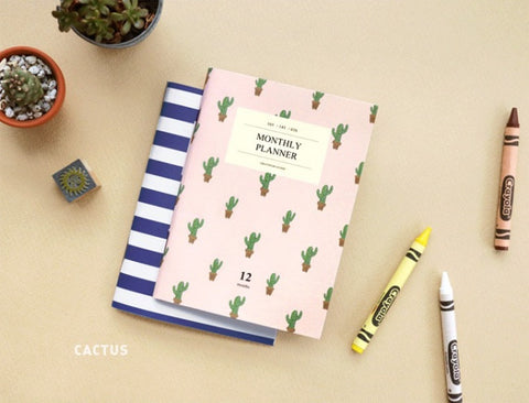 Iconic Monthly Planner Cactus - Stuff & All Ltd
