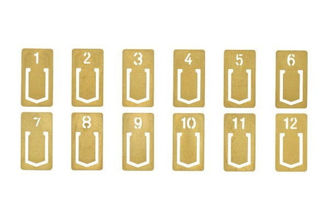 Midori Brass Number Clips - Stuff & All Ltd