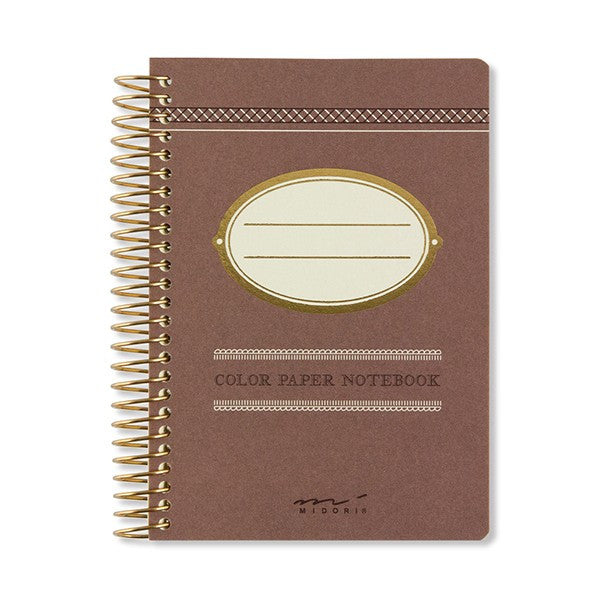 Midori Colour Paper Notebook A7 Cacao - Stuff & All Ltd