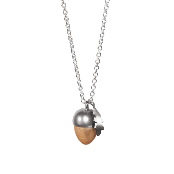 Phoebe Silver Sterling Acorn and Leaf Necklace Pendant - Stuff & All Ltd