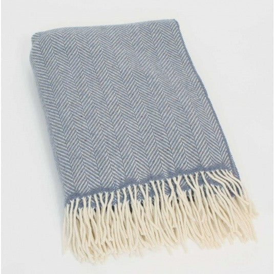 John Hanly Merino and Cashmere Blue Herringbone Blanket Throw - 136 cm x 180 cm - Stuff & All Ltd