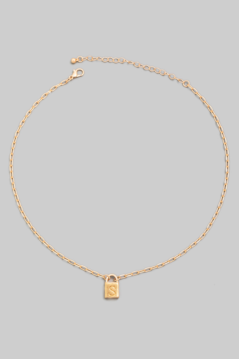 Initial Lock Necklace in Gold