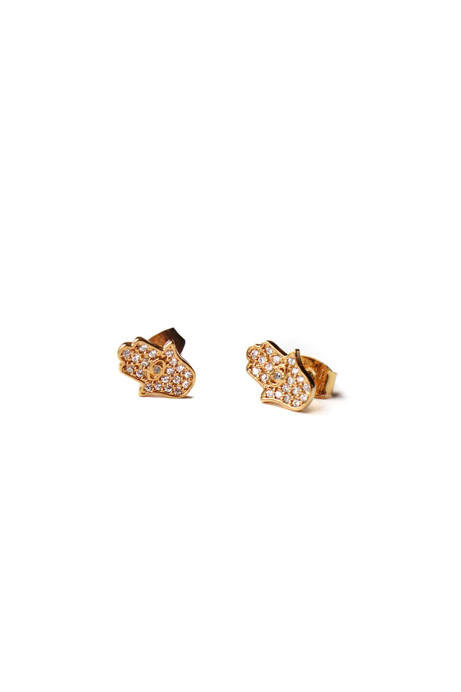 Pave Hamsa Stud Earrings in Gold