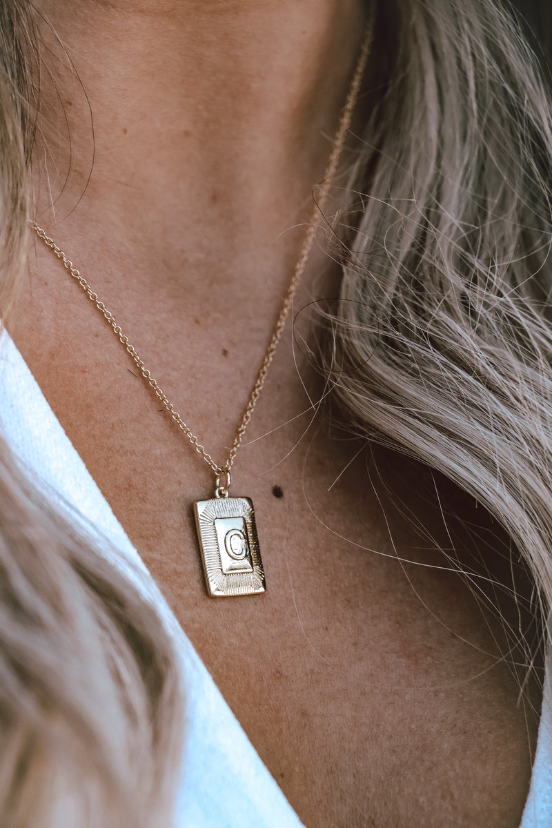 "Put Your Records on Initial Necklace in Gold - 18"" chain"