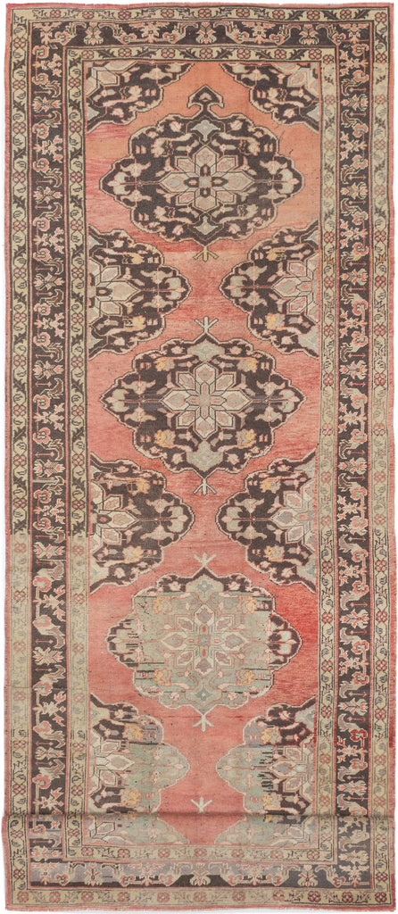 "Lana/  5'1"" x 14'1"" , Vintage Turkish Pink peach  , handmade wool runner Rug"