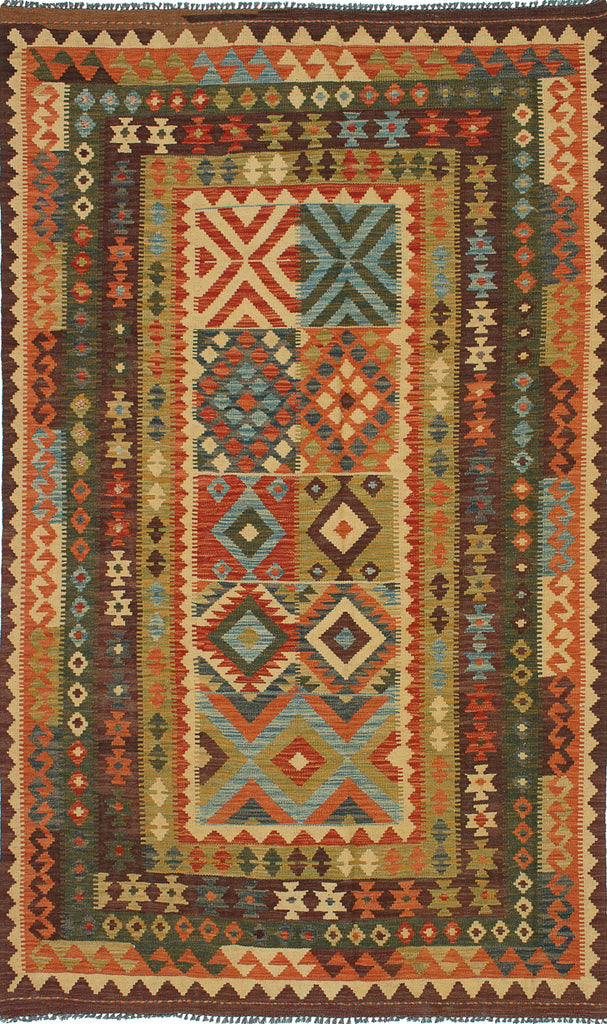"+Hazel+ Hand woven Turkish Kilim rug, bohemian, Sought western design, Dark Brown Wool Kilim 5'0"" x 8'4"""