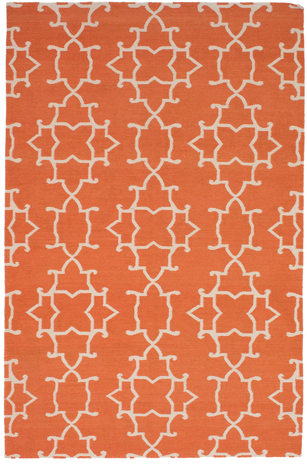 "+Tangerine+ Turkish Kilim rug, Vintage Retro Orange , Handmade Wool Rug, 4'11"" x 7'10"""