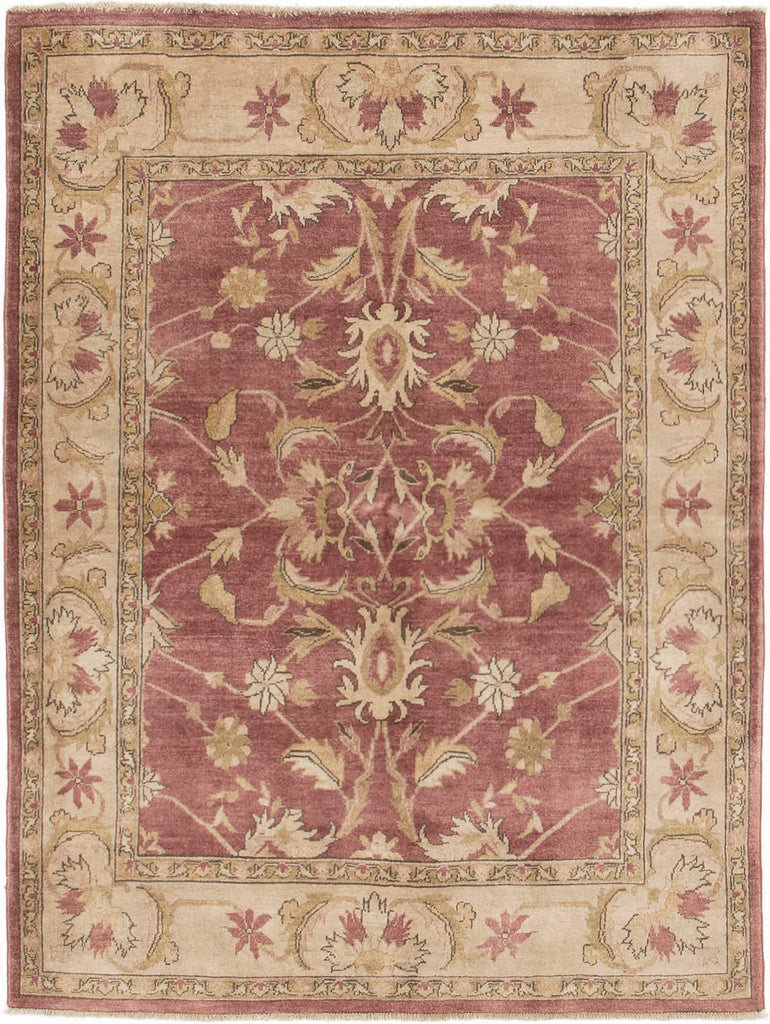 "Ciara / 4'10"" x 6'7"" , Vintage Turkish pastel pink and Beige , handmade wool Rug"