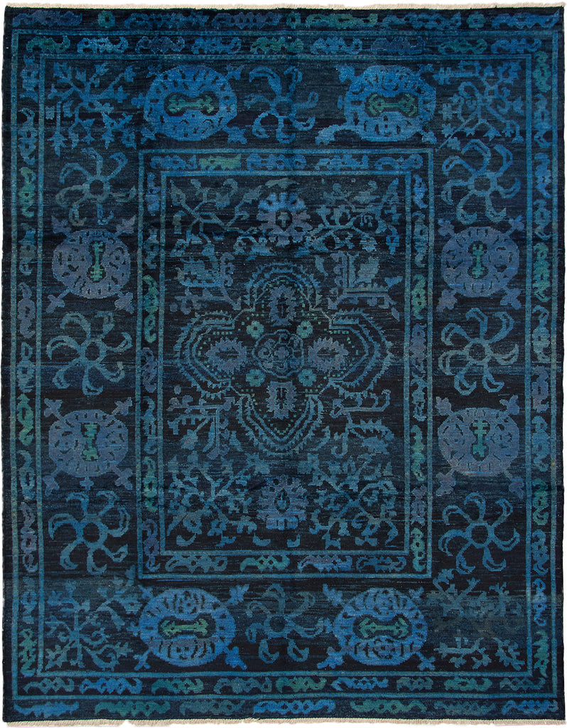 "Valen/Turkish, Updated Traditional Navy,Handmade wool, Rug, 9'0"" x 11'8"""