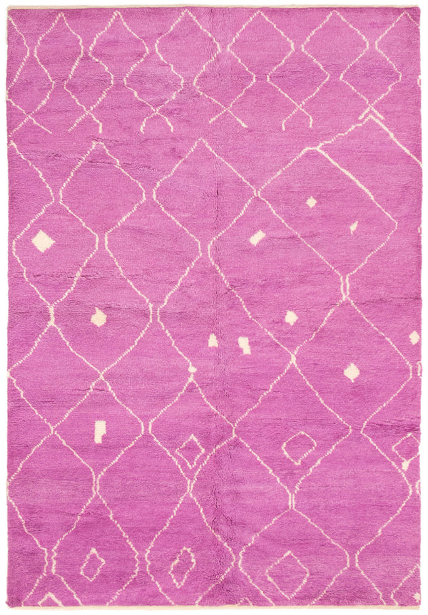 "Marrakesh / 6'3"" x 9'0"", Vibrant Pink and White Moroccan-Style Rug, Handmade Wool Rug"