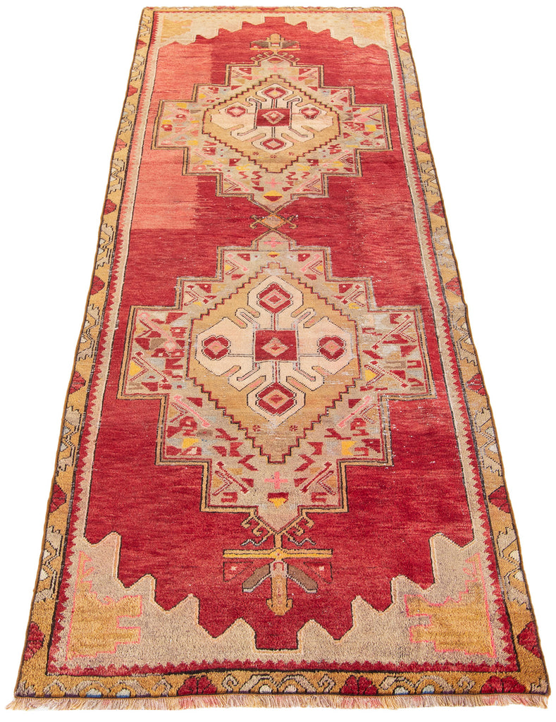 "Fancy / 3'7"" x 11'2"" , Vintage Turkish, Red, Pink, Gold Bohemian , handmade wool Rug"