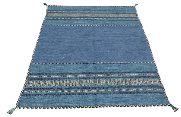 "Ladis  /  5'0"" x 8'0"" Kilim  , Navajo style, Navy and denim Blue, Handmade wool Rug"