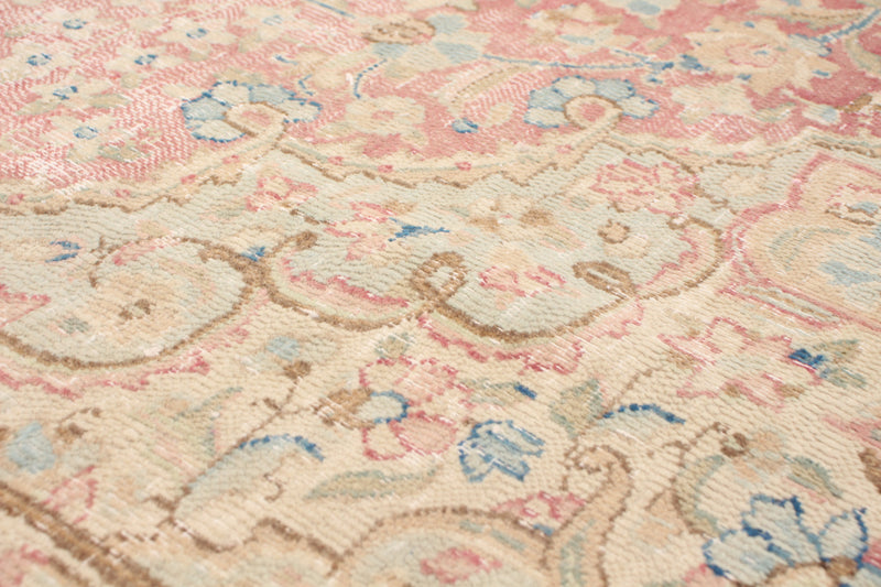 "Maloos  / 7'9"" x 10'7"" , Vintage Turkish, Pretty soft pink and blue, distressed,   Handmade wool Rug"