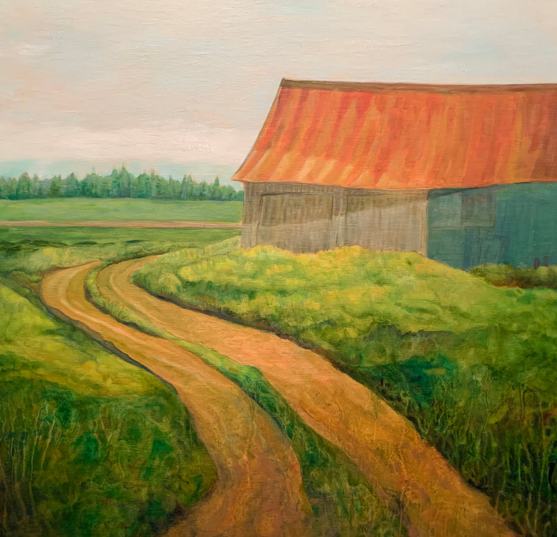 """To the old barn"" / 20"" x 20"" / Oil on canvas,  Original art work by Rasa Pav"