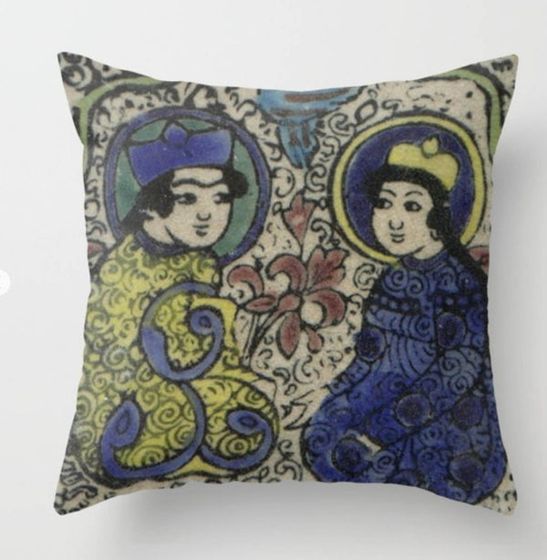 "16"" x 16  Shirin and Farhad  Printed Pillow Cover with Insert"