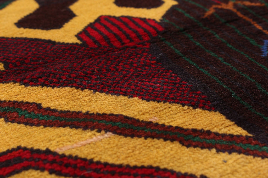 "Zuri // Vintage Afghan ,Yellow and Red , Bohemian, rustic   - Rug,   2'11"" x 4'6"""