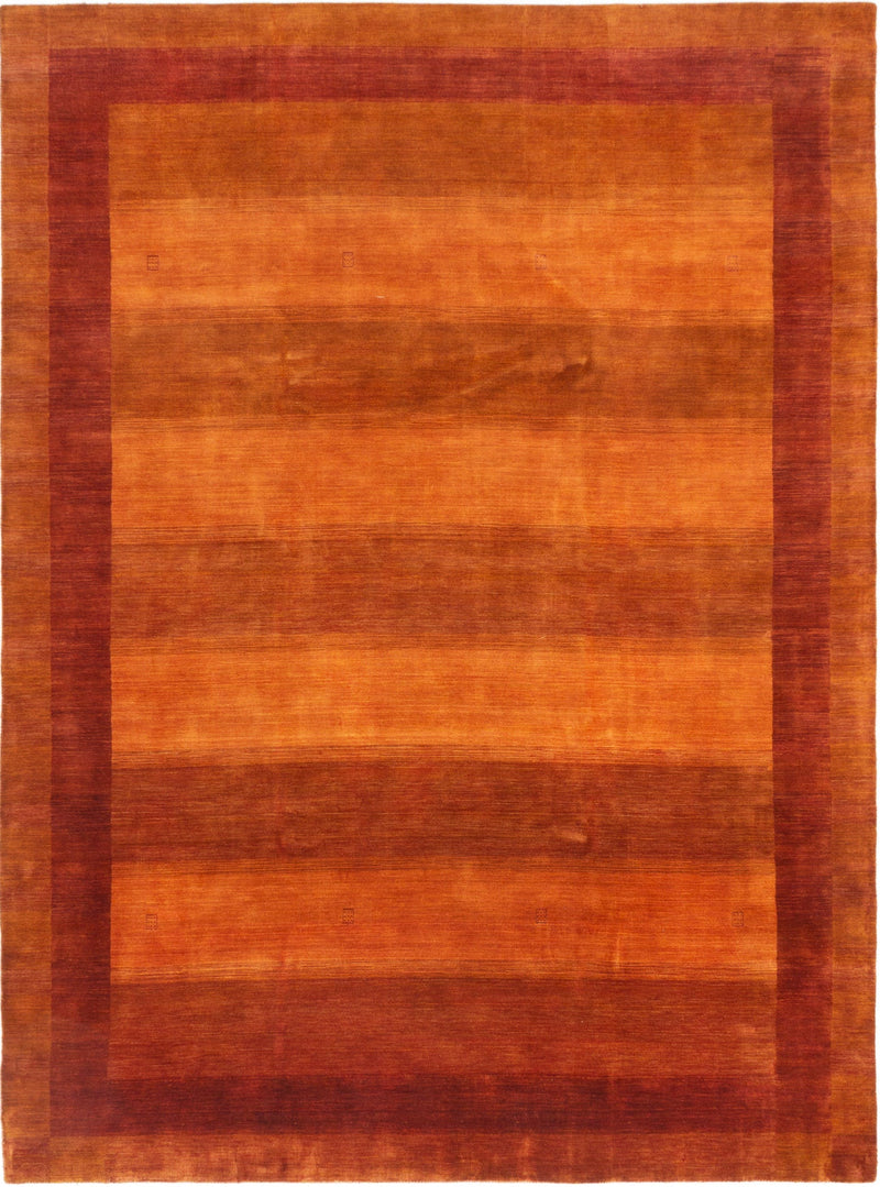 "Peridot //  Nepalese Gabbeh, Plush Pile , Orange and Copper  , Minimal design, 1970's style   -  Rug,    8'3"" x 11'3"""