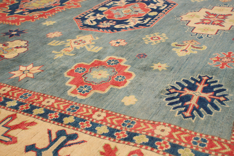 "Super SaleBalance  / Kazak  Blue and beige , Hand woven, 8'11"" x 11'5"""