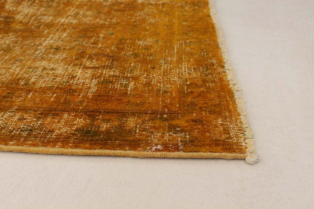 "Super SaleYael  /Vintage Turkish over dyed Yellow Gold, Hand woven, 9'3"" x 12'0"""