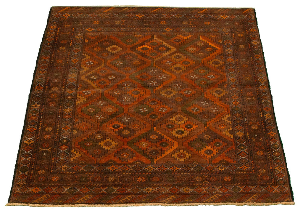 "Falen /Vintage Tribal Bokhara, Afghan ,Copper and Olive green , Organic wool, Handmade wool rug,  3'7"" x 5'5"""