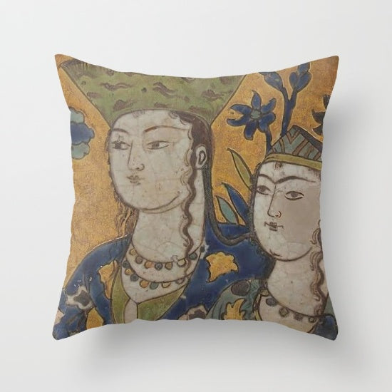 "Leili and majnoon  Printed Pillow Cover  16"" x 16"