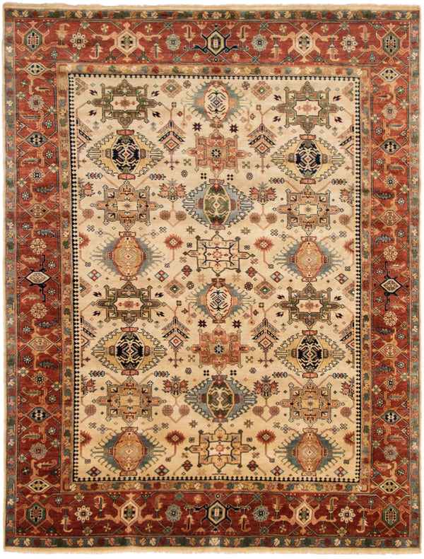 "Juliana / 9'0"" x 11'10"" , Stunning Serapi design, Copper and Beige, Handmade, Wool rug"