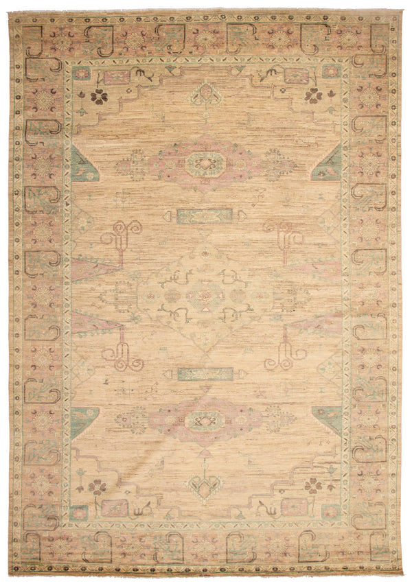 "sinalco  / 12'3"" x 17'10""/ Vintage turkish, Soft pallet, Neutral, Handmade wool rug"
