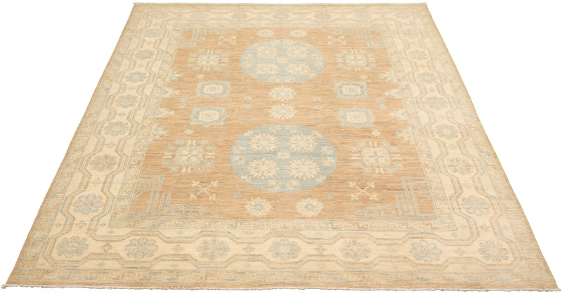 "Jiro / 8'0"" x 9'10"" / Peach and blue / Handmade wool rug"
