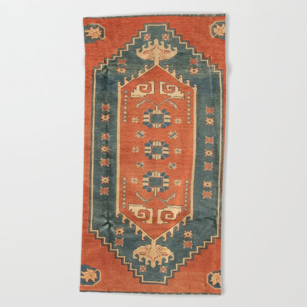 Turkish Lounge Beach Towel In Orange and Blue