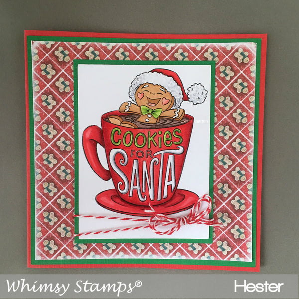 Cookies for Santa Rubber Cling Stamp - Whimsy Stamps